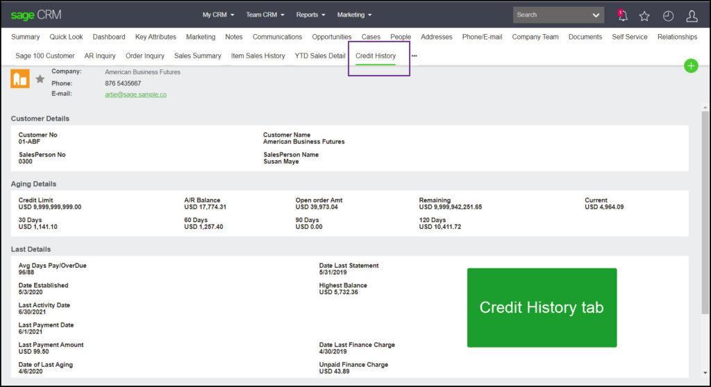 Sage 100 CRM Credit History Tab