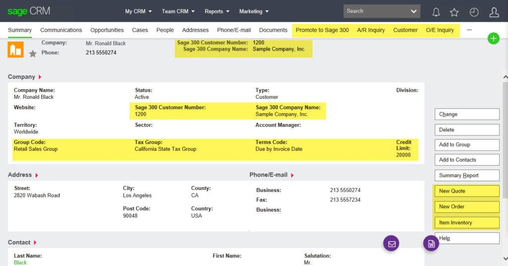 Sage 300 CRM Customer Record