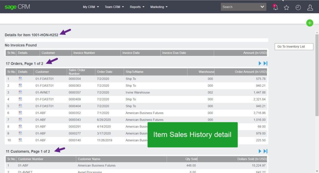 Item Sales History Detail