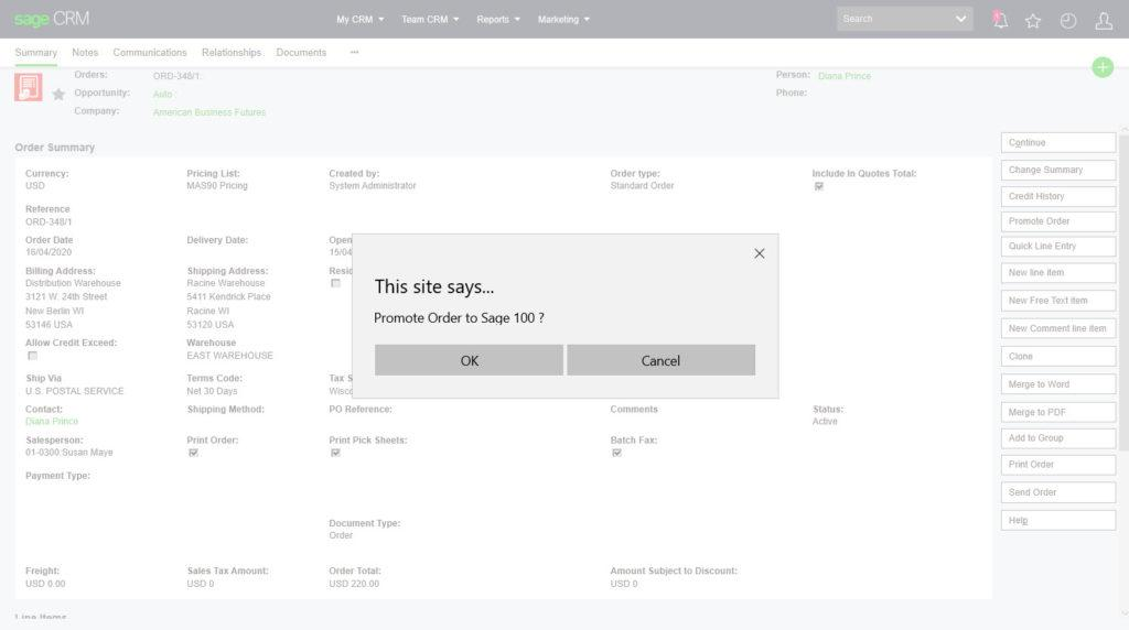 Sage 100 CRM Promote Order Feature
